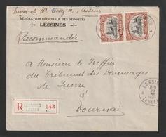 Nr. 142 Ieper In Paar Op Aangetekende Brief Van LESSINES Naar Dendermonde  - 1921 - 1915-1920 Albert I