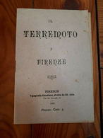 1895 - IL TERREMOTO A FIRENZE - OPUSCOLO - TIPOGRAFIA CLAUDIANA - Books, Magazines, Comics