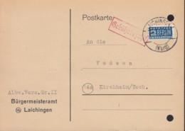FrzZone  Gebühr Bezahlt, Barfrankatur MiNr. B 3a: Laichingen 2.2.1950, Mit Notopfer-Marke - Zone Française