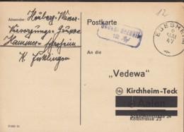 FrzZone  Gebühr Bezahlt, Barfrankatur MiNr. B 15b XII: Egesheim 6.MAI 1947 - Zona Francese