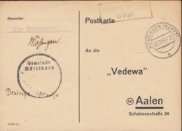 FrzZone  Gebühr Bezahlt 6 Rpf., Barfrankatur MiNr. B 15b: Mössingen 2.11.1945 - Zone Française