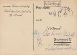 FrzZone  Gebühr Bezahlt., Barfrankatur MiNr. B 3a: Amtzell 2.JUL 1946 - Zona Francese
