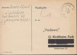 FrzZone  Gebühr Bezahlt.....Rpf., Barfrankatur MiNr. B 14b, Amtzell 1.FEB 1947 - Zona Francese