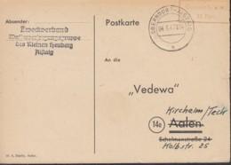 FrzZone  Gebühr Bezahlt 12 Rpf., Barfrankatur MiNr. B 15b, Oberndorf-Aistaig 4.6.1947 - Zone Française