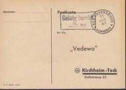 FrzZone  Gebühr Bezahlt.....Rpf., Barfrankatur MiNr. B 14b, Neuravensburg 11.JUN 1947 - Zona Francese