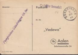 FrzZone  Gebühr Bezahlt, Barfrankatur MiNr. B 1a, Gündringen 5.AUG 1946 - Zona Francese