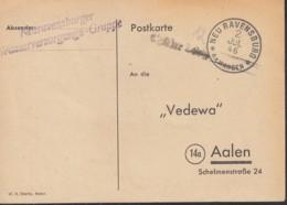 FrzZone  Gebühr Bezahlt, Barfrankatur MiNr. B 1a, Neuravensburg 2.JUL 1946 - Zona Francese