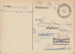 FrzZone  Gebühr Bezahlt, Barfrankatur MiNr. A 1, Neuravensburg 7.OKT 1946 - Zona Francese