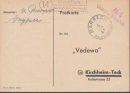 FrzZone  Gebühr Bezahlt, Barfrankatur MiNr. B 1a, Marbach OA Müns. 4.JUN 1947, Landpostst: Dapfen über Marbach - Zona Francese
