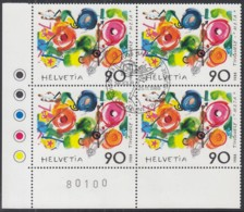 SCHWEIZ 1380, 4erBlock Eckrand, Gestempelt*, Jean Tinguely 1988 - Blocks & Sheetlets & Panes