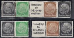 DR  EG-Str. 1, W 71, W 76, Ungebraucht (*), Hindenburg 1939 - Zusammendrucke