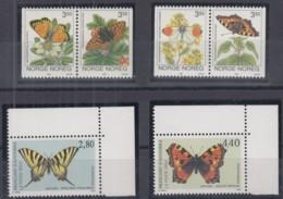 NORWEGEN 1114-15, 1143-44, Frz. ANDORRA 472-73,  Postfrisch **, Schmetterlinge - Schmetterlinge