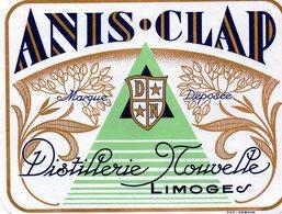 Etiquette (12,1X9,3) Distillerie Nouvelle  ANIS CLAP   Limoges - Etiquettes