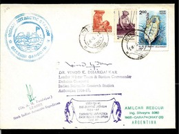 AANT-216 INDIA ANTARCTICA 1986-7 DAKSHIN GANGOTRI STATION SIGNED BY COMMANDER - Research Stations