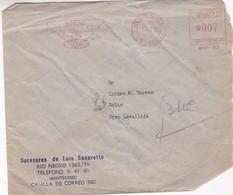 SUCESORES DE LUIS CASARETTO-COMMERCIAL ENVELOPE CIRCULEE 1955 URUGUAY AFFRANCHISEMENT MECHANIQUE - BLEUP - Uruguay