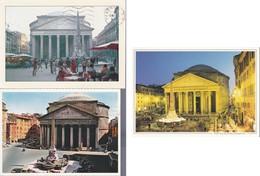 Italia Formato Grande:Cartolina ROMA. Lotto 3 Pezzi .3 Viaggiate. - Panthéon