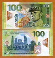 RARE : CZECHOSLOVAKIA , PRIVATE ISSUE - 100 KORUN 2018 , STEFANIK - UNC / POLYMER - Czechoslovakia