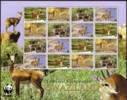 Swaziland WWF Klipspringer And Oribi Sheetlet Of 4 Sets MNH SG#704-707 SC#698-701 MI#702-705 - Swaziland (1968-...)