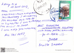 SOUTH SUDAN UGANDA 2017 Postcard Received At Juba Post Office From Uganda Ouganda Südsudan Soudan Du Sud - Sud-Soudan