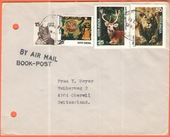 INDIA - 1977 - 15 Tiger + 25 Children's Day + 25 Swamp Deer + 50 Lion - Air Mail - Book-Post - Viaggiata Da Madras Per O - India