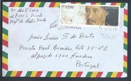 Carta De Cabo Verde Com Obliteração S. Vicente Sobre Selo Do Infante D. Henrique. Stylized Map Cape Verde. Discoveries. - Isola Di Capo Verde