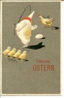 Illustrateur Art Nouveau - Fröhliche Ostern - Pierrot Dompteur De Poule Et Poussins, Oeuf - Embossé - Illustrateurs & Photographes