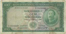 Mozambique - 100 Escudos - 27.03.1961 - P 109a - 7 Digits - Sign Varieties - AIRES DE ORNELAS - PORTUGAL - Mozambique