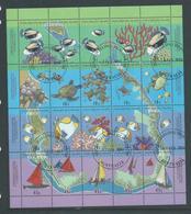 Cocos Keeling Island 1994 Map & Reef Life Sheetlet Of 16 VFU , Local Cocos Cds - Cocos (Keeling) Islands