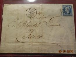 Lettre De 1863 à Destination De Rouen - Marcofilie (Brieven)