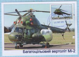 UKRAINE / Maidan Post / Military Mail. Maxi Card / Air Force Aviation. MI-2 Helicopter. 2016. - Ukraine
