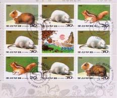 1996 North Korea Stamps Animal Sheet CTO - Korea, North