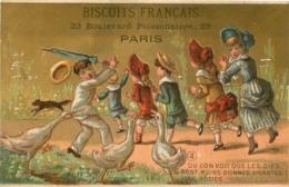 CHROMO  BISCUITS FRANCAIS 23 BD POISSONNIERE PARIS IMP. COURBE ROUZET - Confectionery & Biscuits