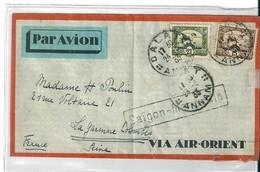 """Lettre Indochine Annam Avec Griffe """" Saïgon Marseille """" , 1933 - Indochina (1889-1945)"""