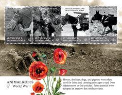 St. Vincent 2018 Fauna  Animal Roles Of WWI ,horses ,donkey  I201901 - St.Vincent & Grenadines