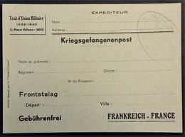 CP Correspondance Pour PRISONNIER DE GUERRE Spéciale FRONTSTALAG Offerte Par Le TRAIT D'UNION MILITAIRE NICE - Marcophilie (Lettres)