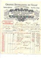 1901  FACTURE RUMILLET-CHARRETIER GRANDE DISTILLERIE DU VELAY à LE PUY EN VELAY HAUTE LOIRE - France