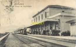 Italie, Bordighera, Arrivo Del Treno Da Ventimiglia, Belle Carte Pas Courante Affranchie 1908 - Other Cities