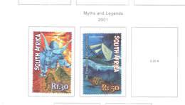 Sud Africa PO 2001 Miti E Leggenda   Scott.1236+1237+See Scan On Scott.Page; - África Del Sur (1961-...)