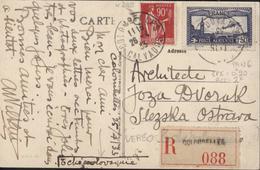 CP Colombelle Calvados En Recommandé Pour La Tchécoslovaquie YT 283 Coin Daté + 285 Paix + Poste Aérienne 6 CAD 1933 - Marcophilie (Lettres)