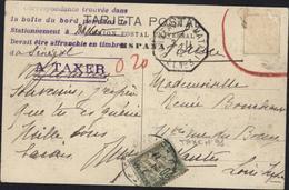 CAD Maritime Bordeaux à Matadi LL N°3  2 11 12 + Correspondance Trouvée Boite Bord Pendant Stationnement Dakar A Taxer - Marcophilie (Lettres)