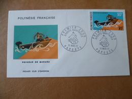 POLYNESIE FRANCAISE FDC POSTE  N° 82  PECHEUR  BATEAU SURF - FDC