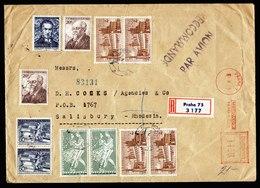 A6191) Czechoslovakia R-Brief Praha 01.08.55 MiF AFS - Marken N. Rhodesien - Briefe U. Dokumente