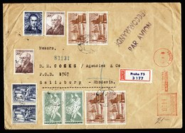 A6191) Czechoslovakia R-Brief Praha 01.08.55 MiF AFS - Marken N. Rhodesien - Covers & Documents