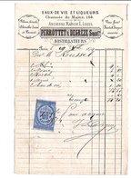 1874  FACTURE PERROTTET & DEGREZE EAUX DE VIE ET LIQUEURS à PARIS CHAUSSEE DU MAINE - France