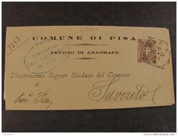 """4557 ITALIA Regno-1896-97- """"Stemma"""" C. 1 PISA>SUVERETO (descrizione) - 1878-00 Umberto I"""