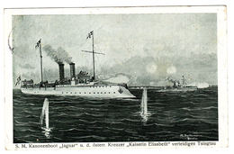 "S. M. Kanonenboot ""Jaguar"" U. D. österr. Kreuzer ""Kaiserin Elisabeth"" Verteidigen Tsingtau - Paquebots"