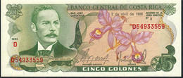 COSTA RICA   P236d  5   COLONES   2 ABRIL 1986  Serie D   UNC. - Costa Rica