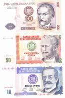 Peru. Set, Set Of Banknotes. 10, 50, 100, 500, 1000, 5000, 10000 Intis. UNC. 1987 - 1988 - Perù