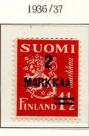 PIA - FINLANDIA - 1937  : Francobollo Precedente Sovrastampato -   (Yv   194) - Unused Stamps
