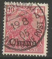 German Offices China - 1901 Germania Overprint 10pf Used  Sc 26 - Offices: China